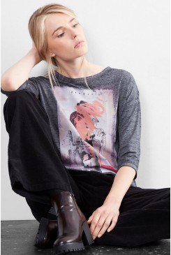 Dámske tričko Q/S designed by WOMEN /  3/4-length sleeve top with an artwork print  41.610.39.5483 59D1
