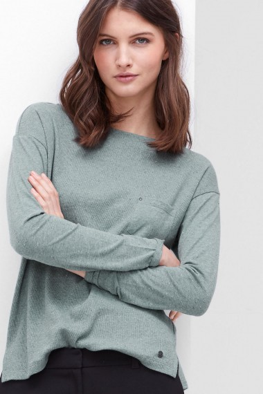 Dámsky top s.OLIVER / Ribbed top in a mix of materials 14.610.39.5009 63W0