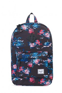 HERSCHEL batoh / HERITAGE  Mid-Volume Floral Blur/Black Pebbled Leather 10019-01262-OS