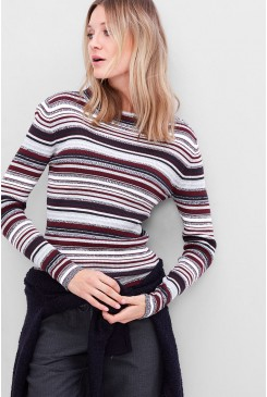 Dámske tričko s.OLIVER / Ribbed jumper with stripes 14.611.61.6869 49G1