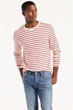 Pánsky pulóver LEVI´S / Long Sleeve Mission Tee 275770004 Red Stripe