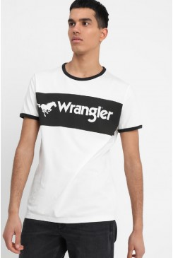 Pánske tričko Wrangler® Logo Ringer Tee W7B68FQIO Egret Off White