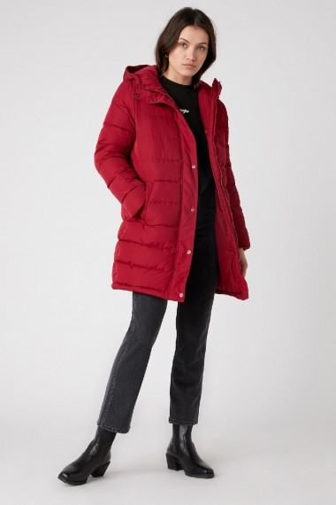 Dámska bunda WRANGLER Long Puffer in Rumba Red W4QVJR05