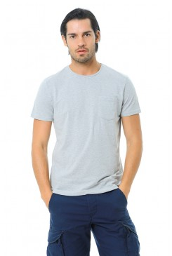 Pánske tričko Jack & Jones / CREW NECK Light Grey 12106505