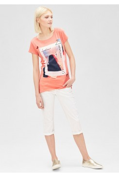 Dámske tričko s.OLIVER / Jersey T-shirt with a multicoloured front print 49.606.32.4259 20D0