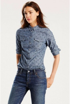 Dámska košeľa LEVI´S / TAILORED WESTERN SHIRT / PRINTED DARK CHAMBRAY 172690044
