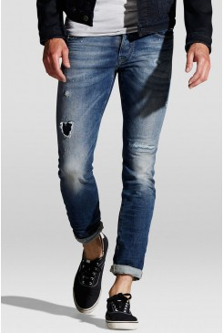 Pánske rifle Jack & Jones / GLENN ICON INDIGO KNIT Jeans Inteligence 12111062