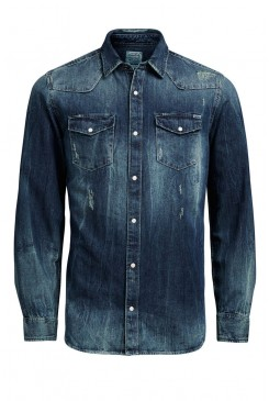 Pánska košeľa Jack & Jones VINTAGE / DAYTON SHIRT 12111080 dark blue